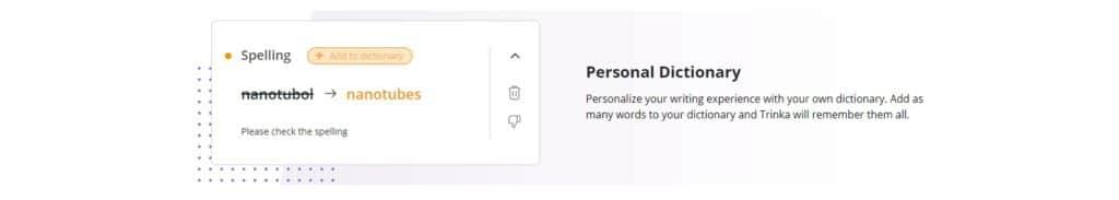 Trinka Ai personal dictionary