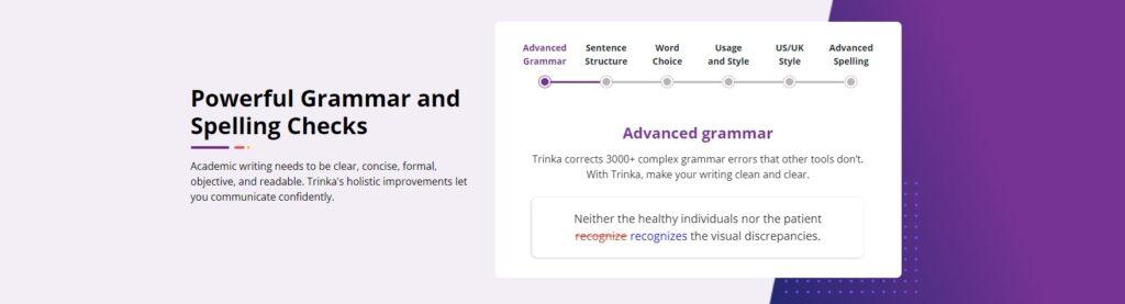 Trinka Ai spelling checks
